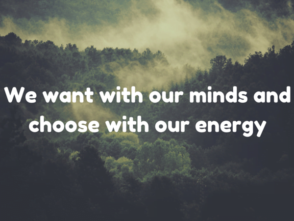 We want with our minds and choose with our energy